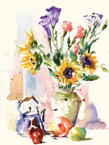 Lisianthus and Sunflowers
