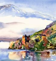Sun and mist, Urquhart Castle, Loch Ness